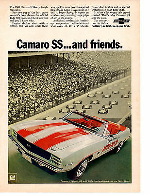 1969 Chevrolet Camaro Ss-350 Pace Car / Indy 500 Edition ~ Original Print Ad