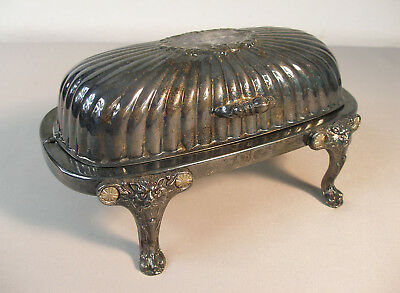 Victorian Roll Top Butter Dish~F.B. Rogers Silver~Lion Head Footed & Rich Patina
