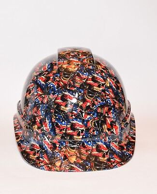 Custom Ridgeline Cap Hard Hat OSHA custom hydrodipped  in American Skulls