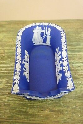 Antique 19Th C Wedgwood Only Jasperware Blue Dip Smokers Pipe Rest / Holder
