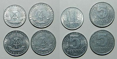4 Old Coins From East Germany - Cold War Currency