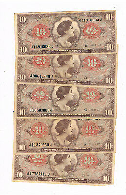 Usa Pm 63 Mpc Vietnam War 5X10 Dollars 1965 Serie 641 Circ No Graffiti
