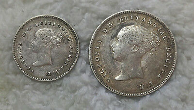 1856 silver 2 pence and 4 pence - free ship