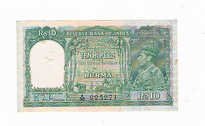 Burma -India P 5 10 Rupees 1938 King Georges Vi Pinholes Punch Hole Little Stain