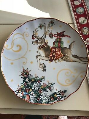 William Sonoma Twas the Night Before Christmas Reindeer DINNER Plate