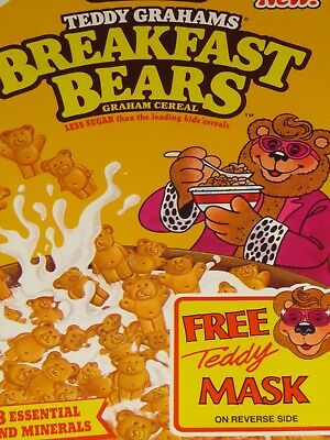 1990 New! Honey TEDDY GRAHAMS BREAKFAST BEARS CEREAL w Mask Yellow Box Flat
