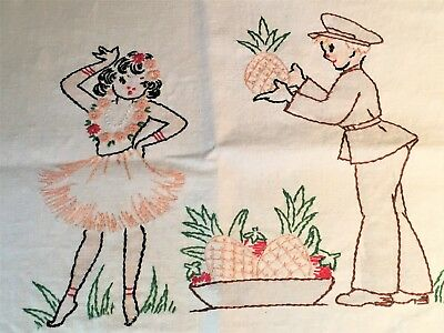Vintage Embroidered Towel WWII Soldier Hawaiian Hula Tinted Vogart 1940s