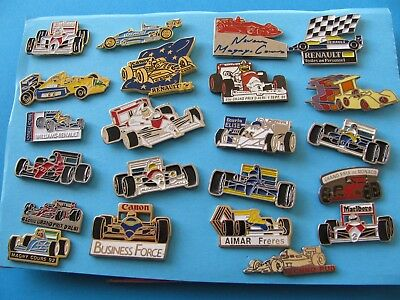 Collection of 22 Racing Car Pin Badges.  Marlboro F1 Renault and others.