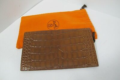 Authentic Hermes Fauve Barenia Alligator Vision Bill Fold Wallet Notebook Agenda
