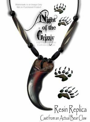 """Rugged Grizzly Claw Necklace Buffalo Bone Bead 24"""" Leather Bear - Free Ship #g5*"""