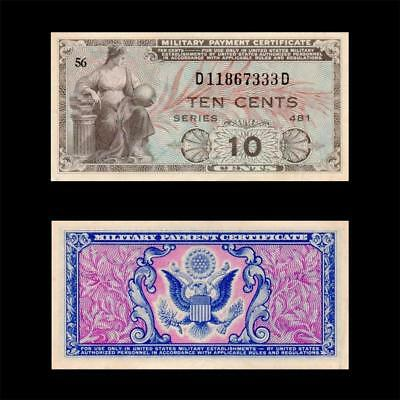 1951 Usa Military Certificate Mpc, 10 Cents »Series 481«