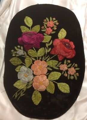 Antique Vintage Black Velvet Needlework Flowers Raised Roses Floral Hand Made