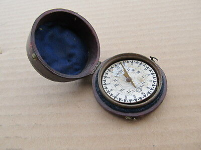 1800's Pocket Handheld Hand Personal Sundial Compass in Leather Case