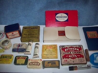 Lot of Vintage Medicine Tins Tubes & Floss Anacin Aspirin Red Cross Bandage More