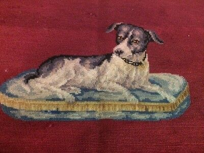 Antique Red Needlework Tapestry Black & White Dog Basket Collie Embroidery