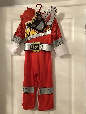Kids Red Power Ranger Costume - Dino Charge - Age 2-3 Years