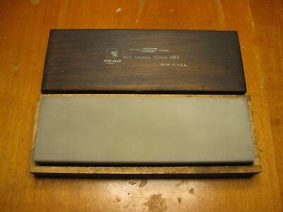 Vintage Transclucent Hard Arkansas Stone From Norton/Bear in Wood Case HM6