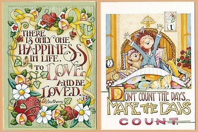 ME16 MARY ENGELBREIT 4 Note Cards ~ Love and be Loved, Make the Days Count