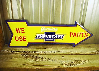 "Chevrolet Chevy Parts 27"" Arrow Metal Tin Sign Large Vintage Garage Man Cave"