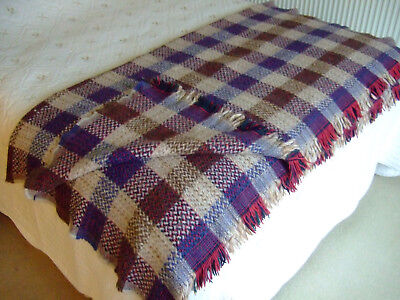 "Beautiful TWEEDMILL Pure Wool Fringed Checked Blanket/Throw.62""x 62""Exc.Cond."