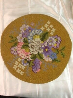 Antique Needlework Tapestry Flowers