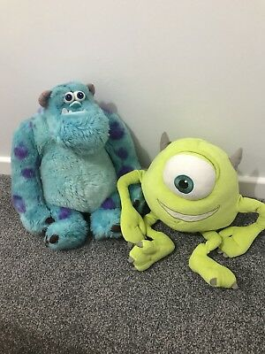 """12"""" Disney Store Mike Wazowski &  Sulley  -- 2 Monsters Inc Soft Toys"""