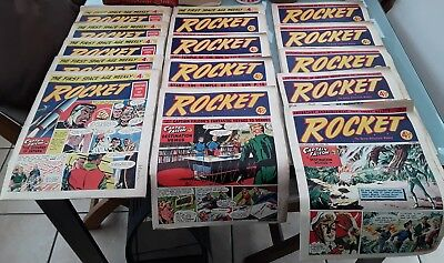 X 17 Original ' Rocket 'The First Space Age Weekly Comic ,Joblot ,Dated 1956