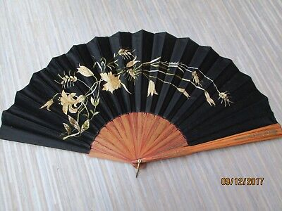 Vintage Silk Embroidered Fan   27 Ins Across