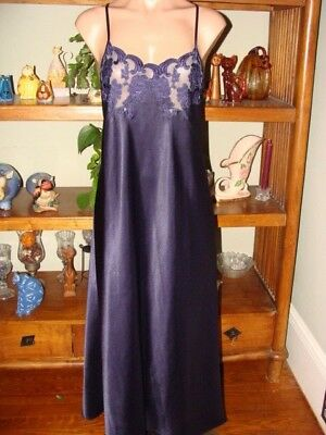 "Ladies/Womens Vintage Natori Long Nightgown - Bust to 34"" - Navy Blue"
