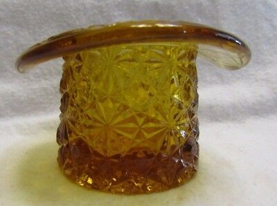 Mosser Glass Daisy And Button Golden Amber Top Hat Votive Or Toothpick Holder