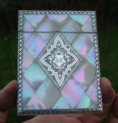 Stunning Victorian Mother Of Pearl & Engraved Silver Calling Business Card Case