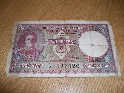 CEYLON (SRI LANKA) 2  RUPEES bank note 1941
