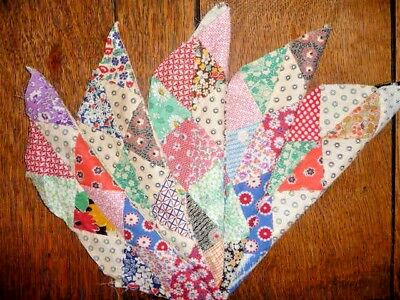 Antique Vintage Lot of 5  TRIANGLE PIECED Elongated Hexagon Quilt Blocks 1930's