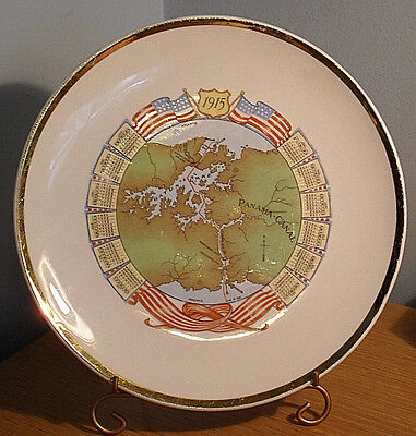 Antique 1915 Calendar Plate / Panama Canal Plate -- C.R.Cave Store, Chicago, IL
