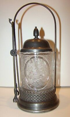 Antique Pressed Scenic Glass Silverplate Pickle Castor Jar w/ Tongs 4part mold