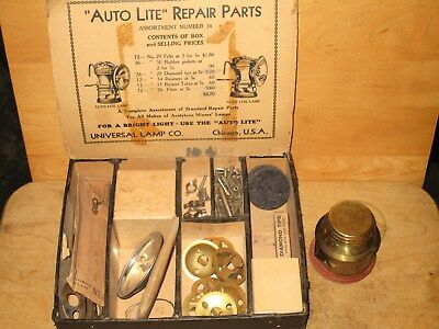 Miners  AUTO-LITE Parts Box For  CARBIDE LAMPS - New/old stock parts!!