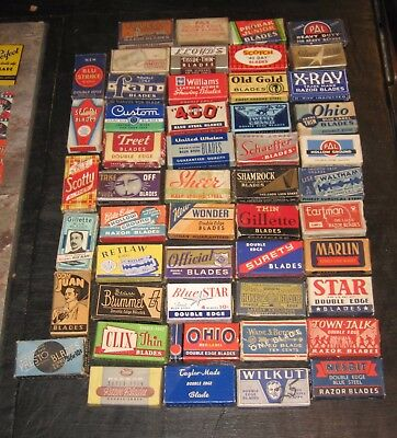 50  Different Empty Vintage Razor Blades Boxes