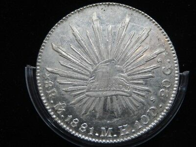 Mexico 8 Reales Mo 1881 MH LOW DATE,KM#377.10,XF Silver Crown Size