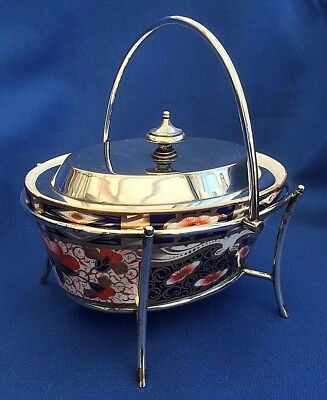 James Dixon & Sons Sheffield Silver Plate & Davenport Gaudy Welsh China Insert
