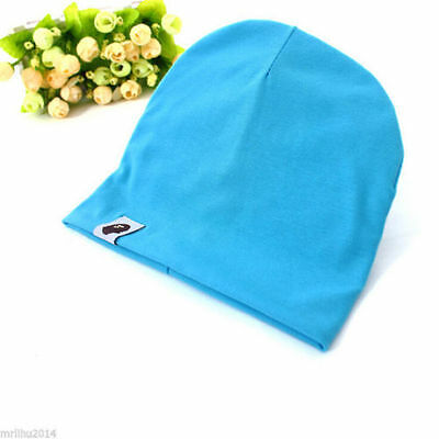 Cotton Beanie Hat New Born Child Baby Boy/Girl Soft Toddler Cap blue