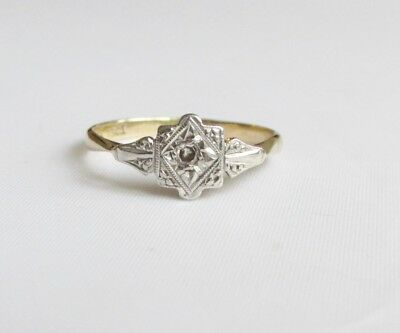 Old vintage Art Deco 18ct gold platinum diamond ring size M 1/2 - N