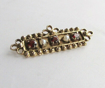 Old antique 14ct gold pearl & garnet brooch in box