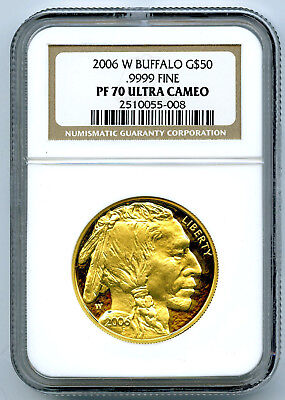 2006 W 1 Oz $50 .9999 Gold Buffalo Proof Ngc Pf70 Ucam Perfect Coin !