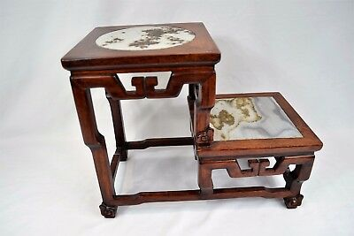 Qing Dynasty Chinese Oriental Carved Hardwood Hongmu & Marble 2 Tier Stand