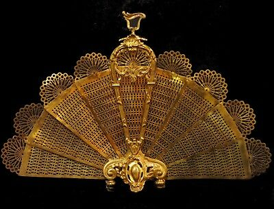 Antique/Vintage Brass Fireplace Peacock Fan Folding Screen Hollywood Regency