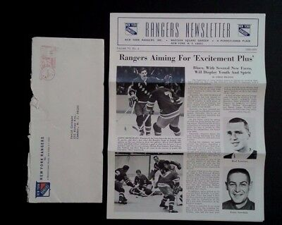 1969 70 Ny Rangers Team Issued Newsletter Ratelle Giacomin Terry Sawchuk Beauty
