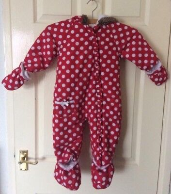 Girls Tu Red Spotted All-in-one Snowsuit - 12-18 Months