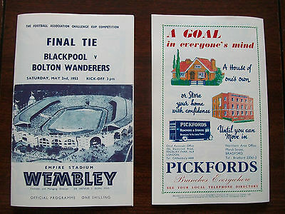 1953 F A Cup final programme & ticket Blackpool v Bolton Wanderers Mint con.