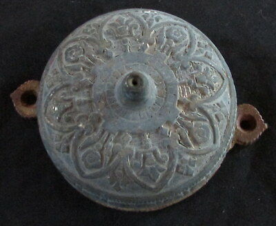 1874 VICTORIAN 1800's ORNATE BRASS MANUAL DOOR BELL