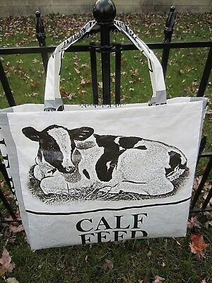 Upcycle~Black And White Calf~Recycled Feed Bag~Grocery~Market Tote